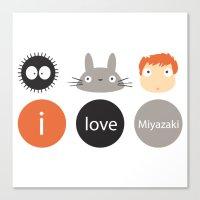 miyazaki Canvas Prints featuring I Love Miyazaki by Etiquette