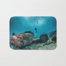shipwreck and diver Bath Mat