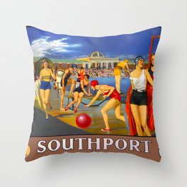 Southport Travel Poster Throw Pillow