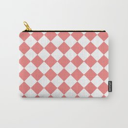 Diamonds - White and Coral Pink Carry-All Pouch