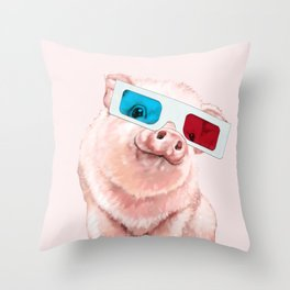 Baby Pink Pig Wear Glasses Pink Throw Pillow