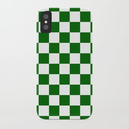 Checkered - White and Dark Green iPhone Case