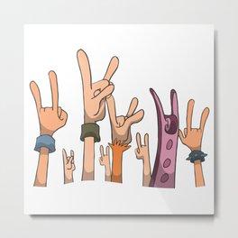 Metal concert hands up in the air Metal Print