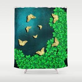 clover and butterflies Shower Curtain