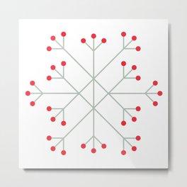 Mod Snowflake Winter Berries Metal Print