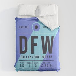 Baggage Tag E - DFW Dallas Fort Worth USA Comforters