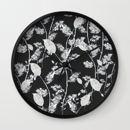 white leaf pattern Wall Clock