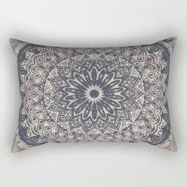 Mandala Geometric Grey and Navy Blue Rectangular Pillow