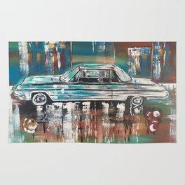 1964 Impala Car Vintage Car Print Colorful Rug