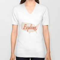 explore V-neck T-shirts featuring Explore by Landon Sheely