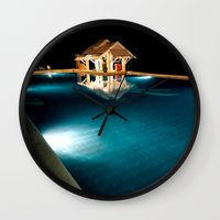 bar Wall Clocks featuring Pool Bar by Adrian Evans
