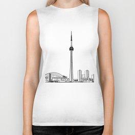 Toronto Skyline - Black on White Biker Tank