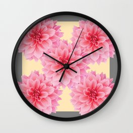 PINK DAHLIA FLOWERS IN YELLOW-GREY Wall Clock