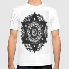 Flower Mandala Number 2 White MEDIUM Mens Fitted Tee