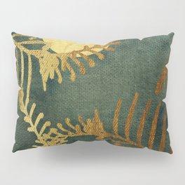 Golden Cycas leaves on dark green canvas Pillow Sham