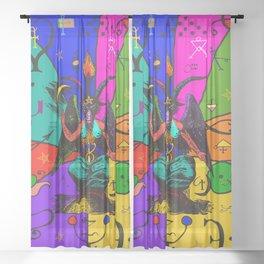 Baphomet Popart Sheer Curtain