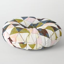 Marble Triangle Tiles in Green Gold  Floor Pillow