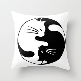 black and white cat yinyang Throw Pillow