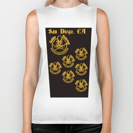 Golden Statesmen Drum and Bugle Corps on Black Background Biker Tank