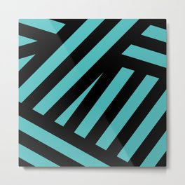 Black blue abstract stripes Metal Print