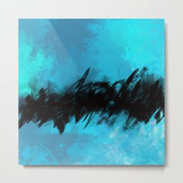 Azure Blue Abstract with Black Inky Middle Metal Print
