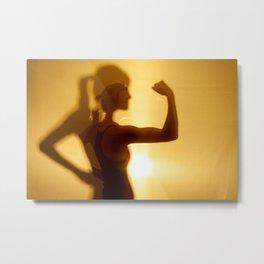 Silhouette Of Woman Flexing Bicep Muscle Metal Print