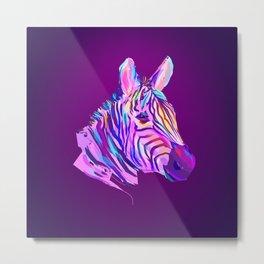 Neon Zebra Metal Print