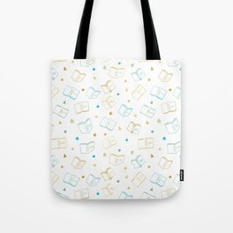 Classic Book Doodles Blue & Yellow Tote Bag