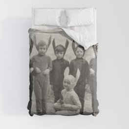 Bizzaro Bad Bunnies in the Countryside black and white photograph Comforters