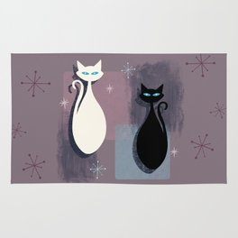 Jazzy Midcentury Modern Black And White Abstract Cats Rug