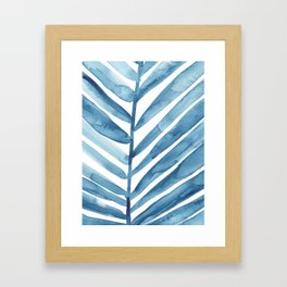 Blue Palm Leaf Crop Framed Art Print