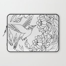 Chinese Ink Brush Painting Floral Chinoiserie Art Laptop Sleeve