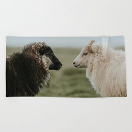 Sheeply in Love - Animal Photography from Iceland Beach Towel