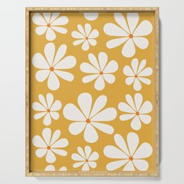 Floral Daisy Pattern - Golden Yellow Serving Tray