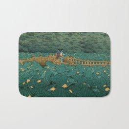 Vintage Japanese Woodblock Print Kawase Hasui Japanese Children Lotus Flowers Garden Wooden Bridge Bath Mat