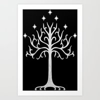 gondor Art Prints featuring White Tree of Gondor by A. Design