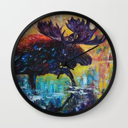 Moose in Turquoise Lake  Palette Knife  Painting by OLena Art Wall Clock