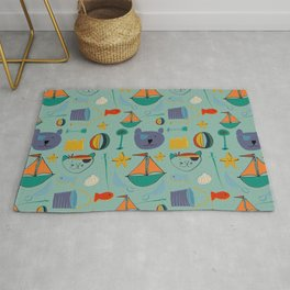 cat and bear at the beach blue green Rug