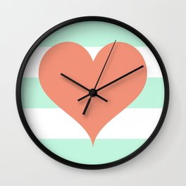 Large Heart on Stripes in Coral and Mint Wall Clock