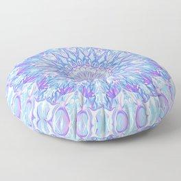Light Blue Purple Mandala | Flower Kaleidoscope Digital Design Floor Pillow