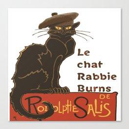 Le Chat Rabbie Burns With Tam OShanter Canvas Print