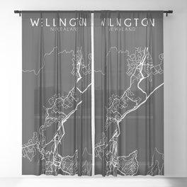 Wellington, New Zealand Street Map Sheer Curtain
