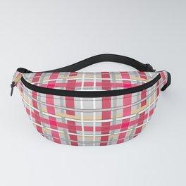 Grey-pink plaid check checkered tartan scottish Fanny Pack