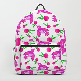 Little pretty swallows birds with spread wings and sunny bright lovely oranges pattern Backpack