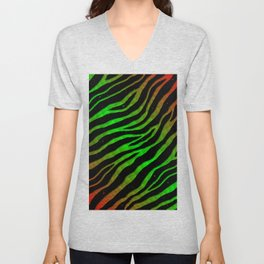 Ripped SpaceTime Stripes - Red/Green Unisex V-Neck
