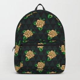 Dark Green Gardenia Triangles Backpack