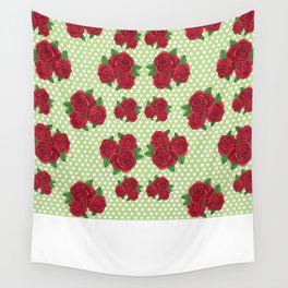 Roses and Polka Dots Wall Tapestry