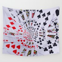 poker Wall Tapestries featuring Poker Royal Flush All Suits Droste Spiral by KittyBitty