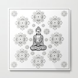 Buddha, HOME DECOR,with hand-painted Mandala Clouds,iPhone case,iPhone cover,iPhone skin,Laptop skin Metal Print