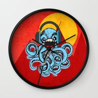 squid Wall Clocks featuring Squid by Janice